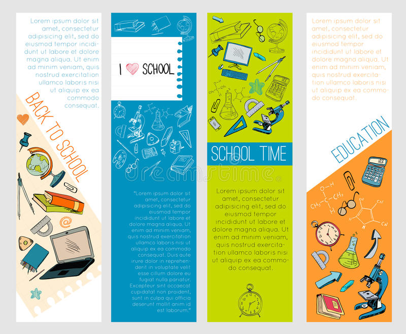 Geography School Book Cover Ideas : School education icons infographic banners stock vector