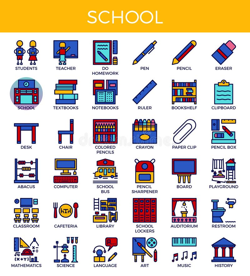 School and Education Icons. School & Education concept detailed line icons set in modern line icon style for ui, ux, website, web, app graphic design stock illustration