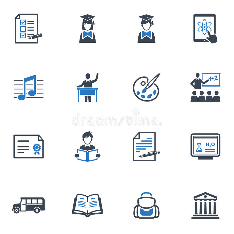School and Education Icons Set 2 - Blue Series stock illustration