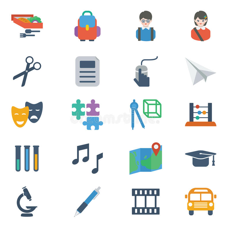 School and Education Icons stock illustration