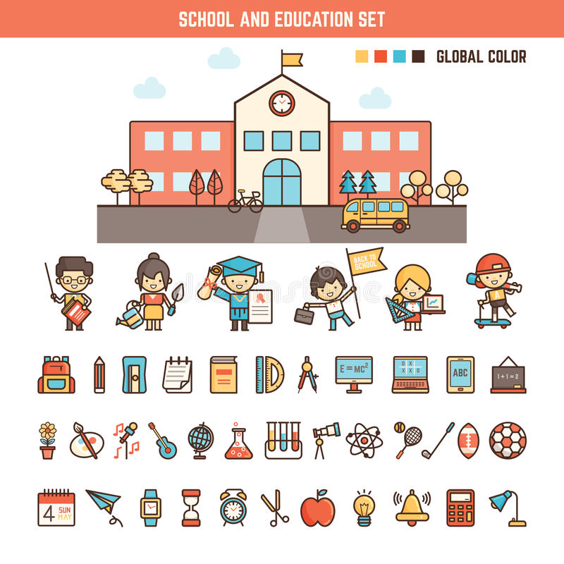 School and education infographics elements for kid. Including characters , building and icons vector illustration