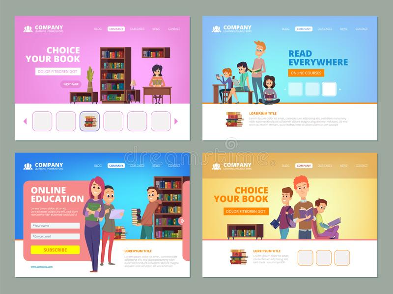 School education landing. Learning distance courses students reading books university library knowledge concept vector royalty free illustration
