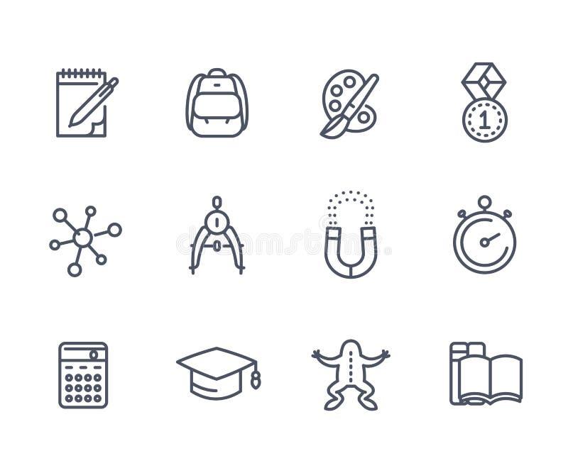 School, education line icons on white vector illustration