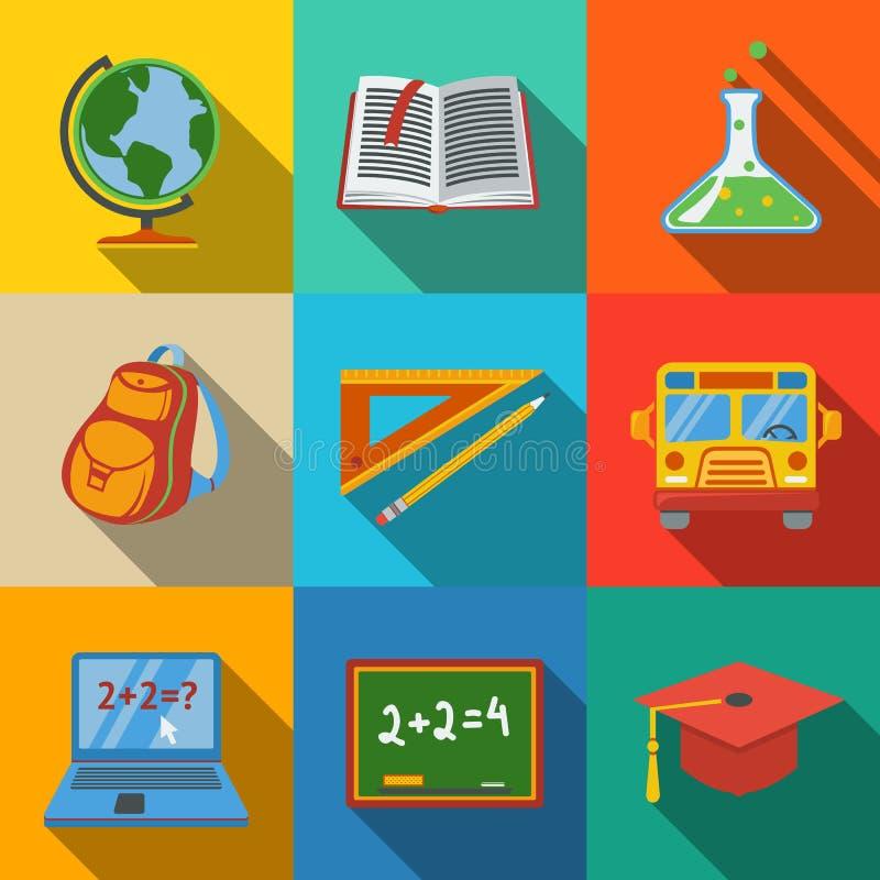 School, education modern flat icons set - globe royalty free illustration