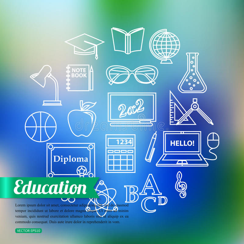 School and education outline icons set over stock illustration