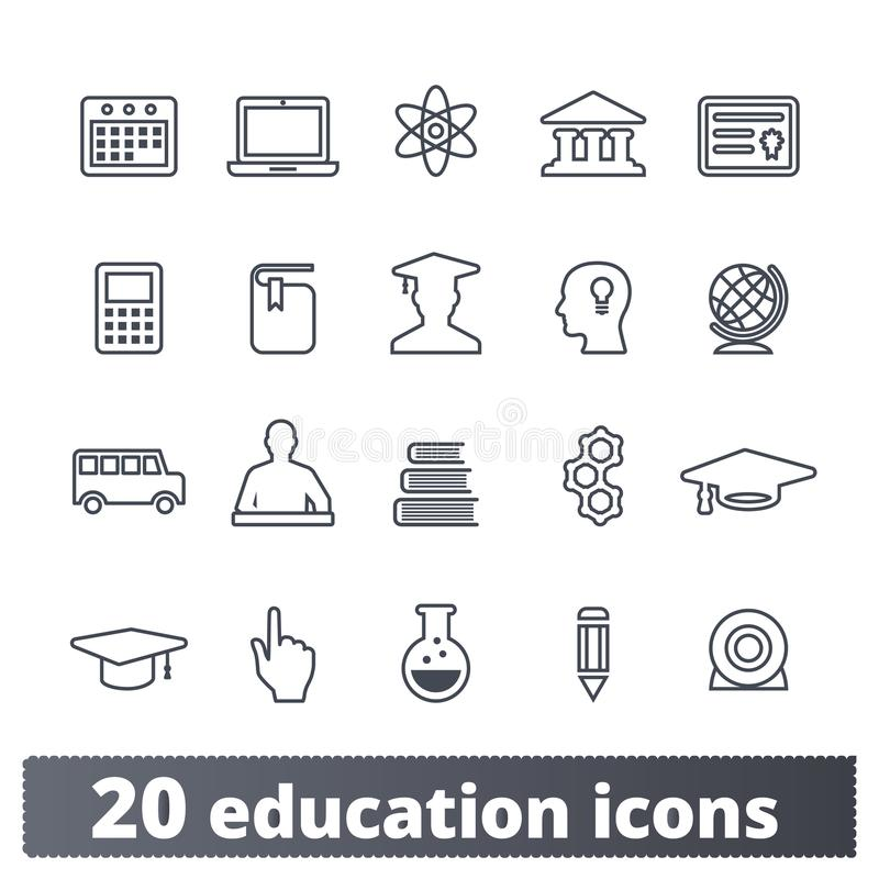 School Education And Science Outline Icons vector illustration