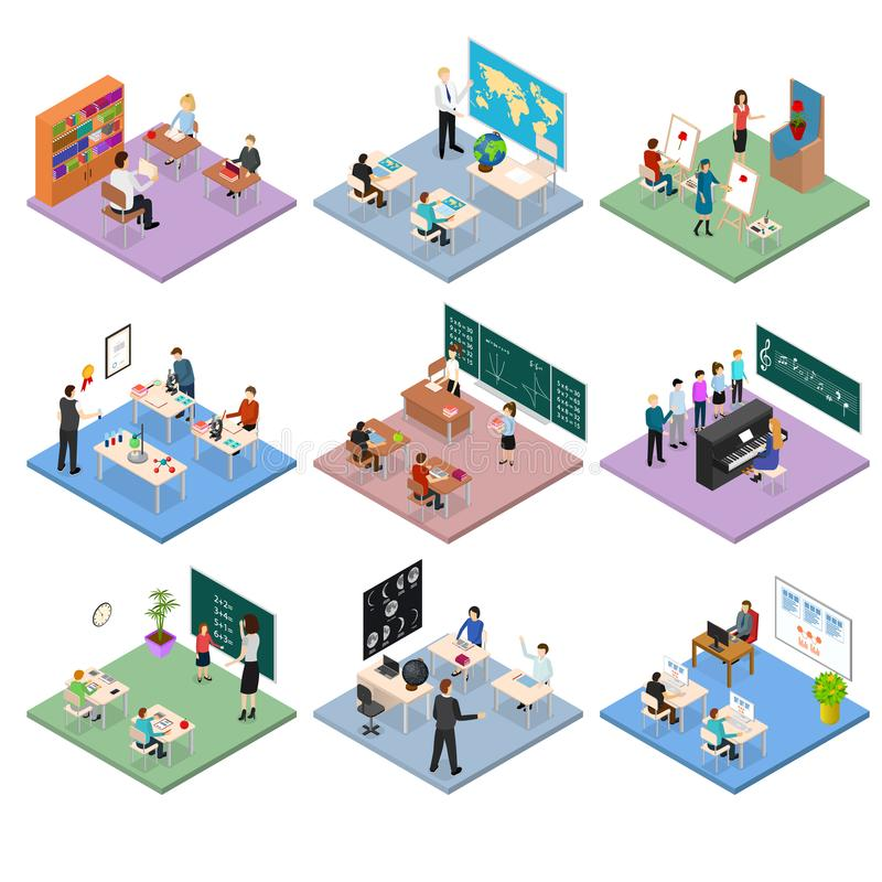 School Education Set Concept 3d Isometric View. Vector. School Education Set Concept 3d Isometric View Scene with Children and Teachers in Classrooms Isolated on royalty free illustration