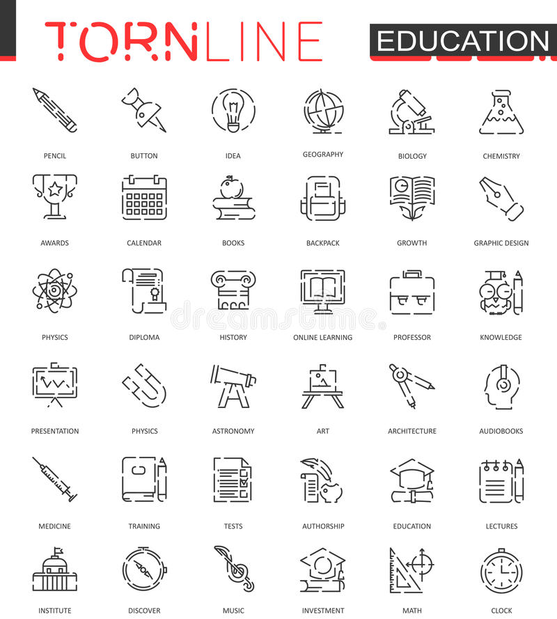 School education thin torn line web icons set. Outline dashed stroke icon design. School education thin torn line web icons set. Outline dashed stroke icon vector illustration