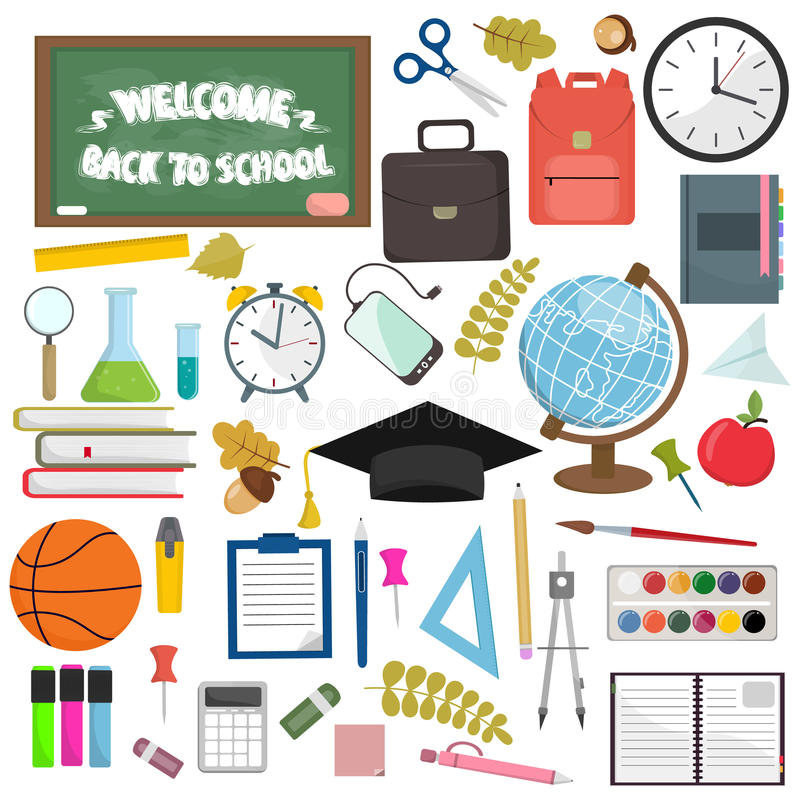 School and education workplace items. Vector flat illustration of school supplies. vector illustration