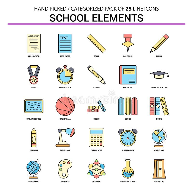 School Elements Flat Line Icon Set - Business Concept Icons Design. This Vector EPS 10 illustration is best for print media, web design, application design vector illustration