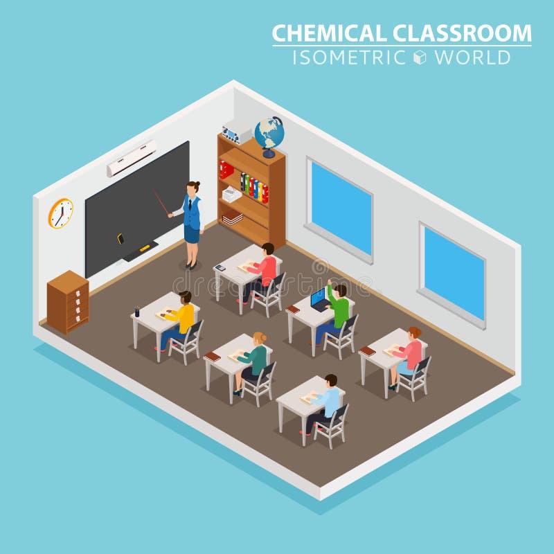 School en het leren isometrisch concept met leraar en kinderen op blauwe achtergrond royalty-vrije illustratie
