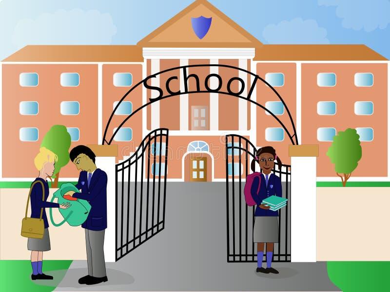 School en kinderenillustratie stock illustratie