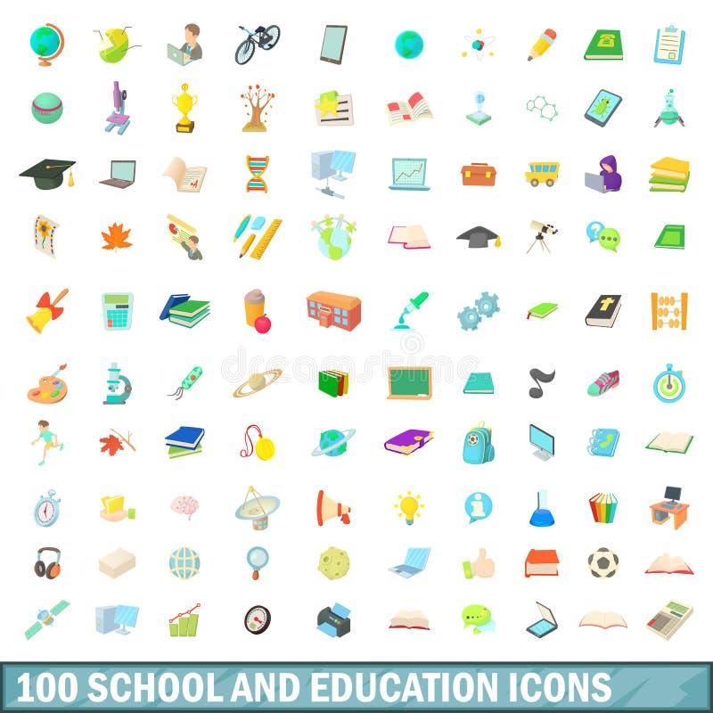 100 school en onderwijs geplaatste pictogrammen, beeldverhaalstijl royalty-vrije illustratie