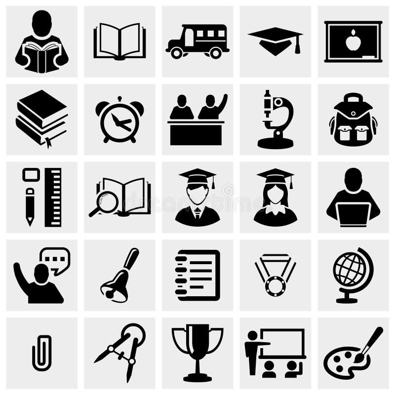 School en Onderwijs vectordiepictogrammen op grijs worden geplaatst. stock illustratie