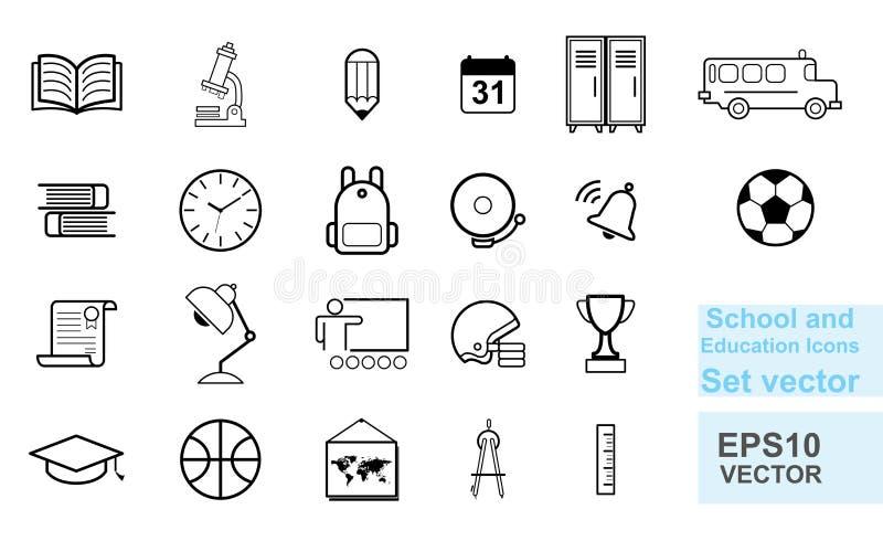 School en onderwijslijnpictogrammen geplaatst vector vrije handstijl vector illustratie
