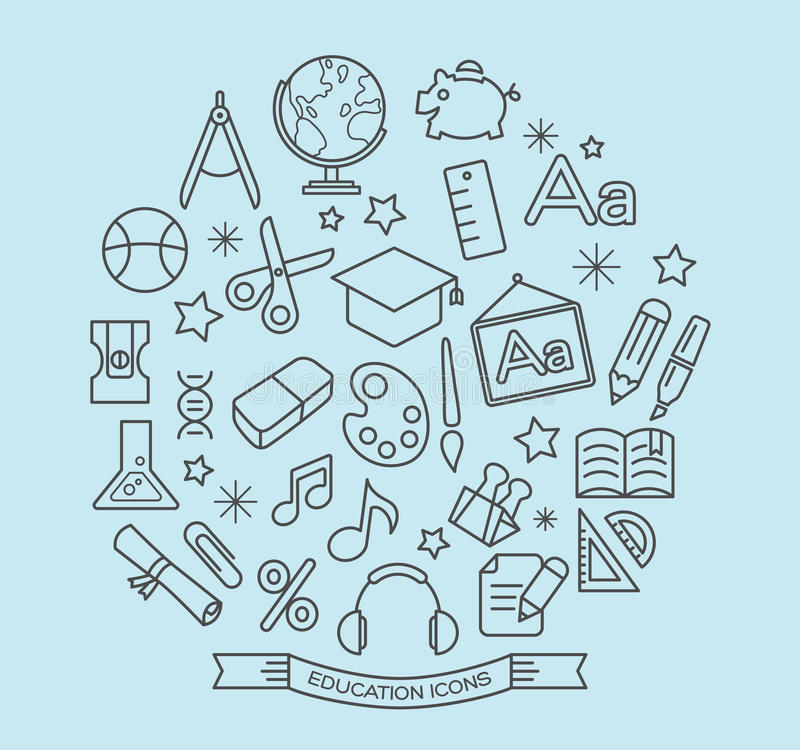 School en onderwijslijnpictogrammen met overzichtsstijl vector illustratie