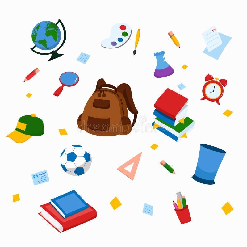 School en van de onderwijswerkplaats punten Vector en illustratie van schoollevering Geïsoleerde school, de toebehoren van de ond stock illustratie