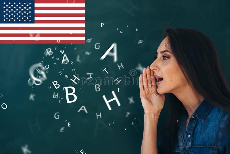 School, Engelse les ourse van het bestuderen van een vreemde taal royalty-vrije stock afbeeldingen