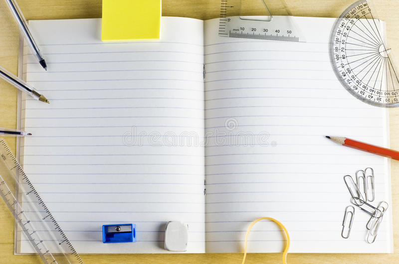 Download School Exercise Book With Stationery Stock Photo - Image: 24092358