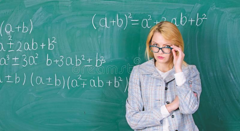 School. Feeling confident in her future. Home schooling. serious woman. teacher on school lesson. Study and education stock images