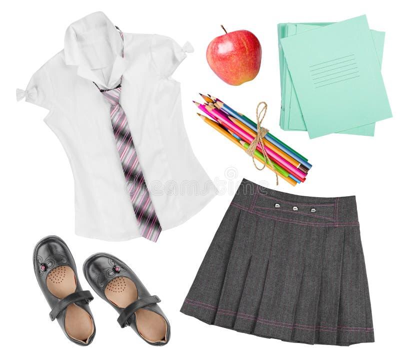 School female uniform clothing elements isolated on white background stock photography