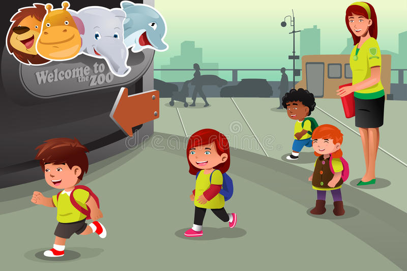 School field trip to a zoo vector illustration