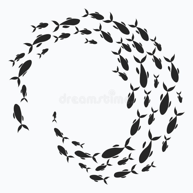 School of fish. A group of silhouette fish swim in a circle. Marine life. Vector illustration. Tattoo. royalty free illustration