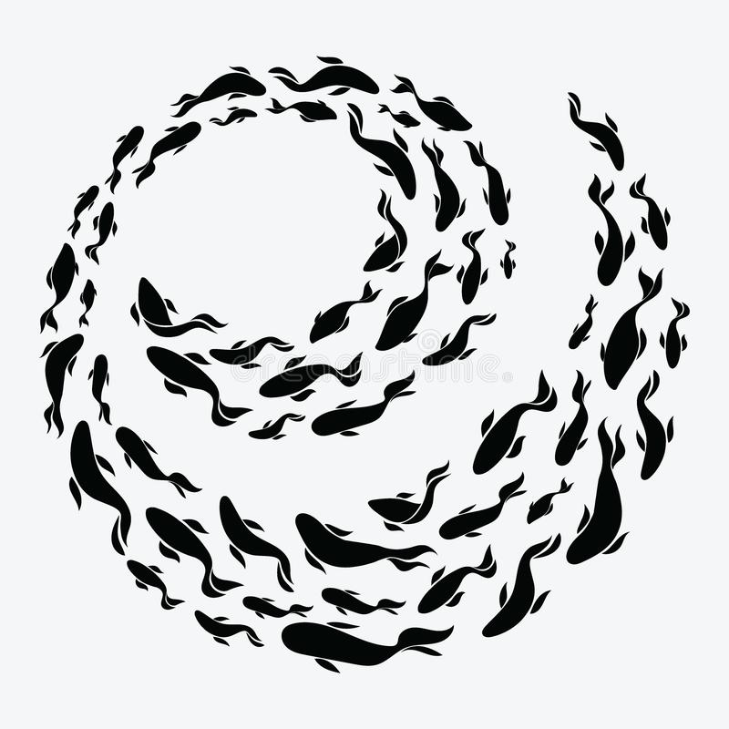 School of fish. A group of silhouette fish swim in a circle. Marine life. Vector illustration. Tattoo. Logo fishes. School of fish. A group of silhouette fish royalty free illustration