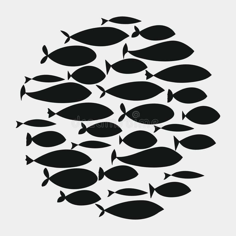 School of fish. A group of silhouette fish swim in a circle. Marine life. Vector illustration. Tattoo. Logo fishes. School of fish. A group of silhouette fish vector illustration