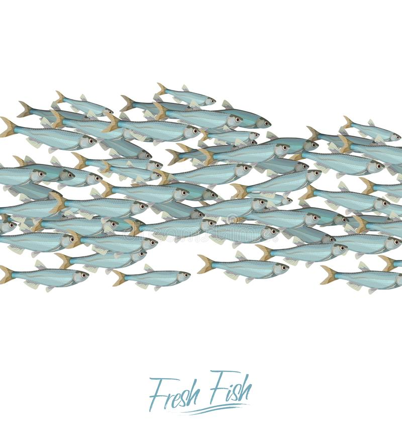 School of fish vector illustration for header, web, print, card and invitation. Plenty of herring or cod moving in the stock illustration
