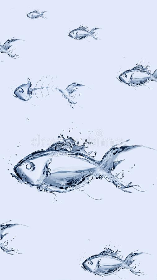 Group of Water Fish Swimming. A school of fish made of water swimming vector illustration