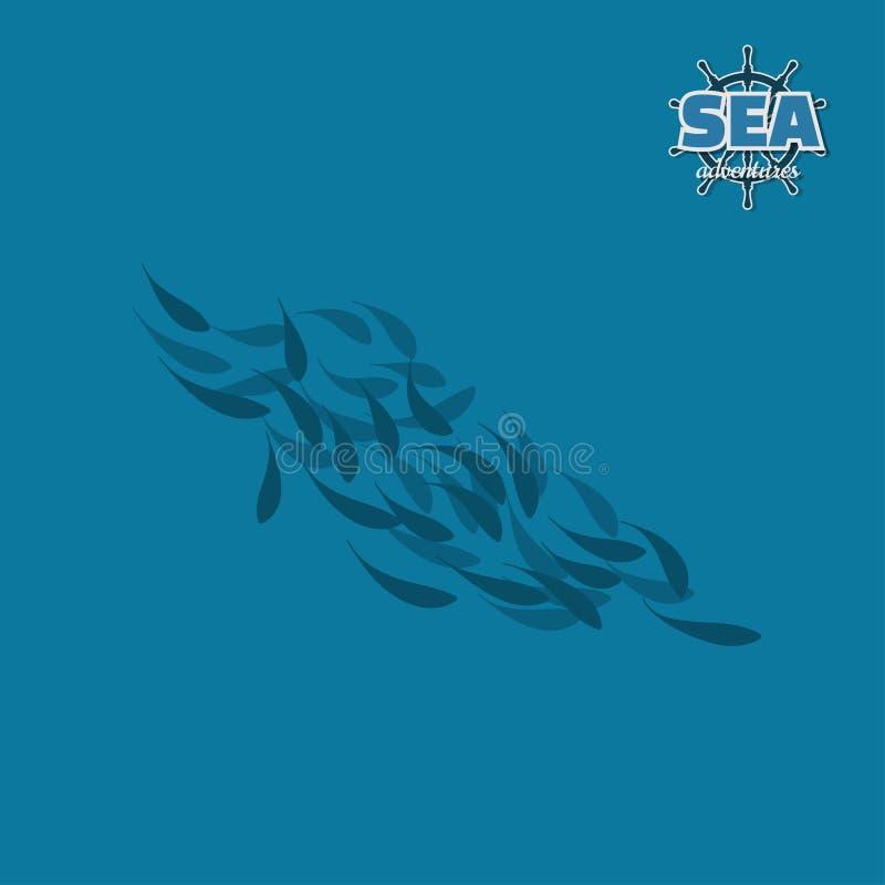 School of fish. Pirate game. 3d image of underwater wildlife vector illustration