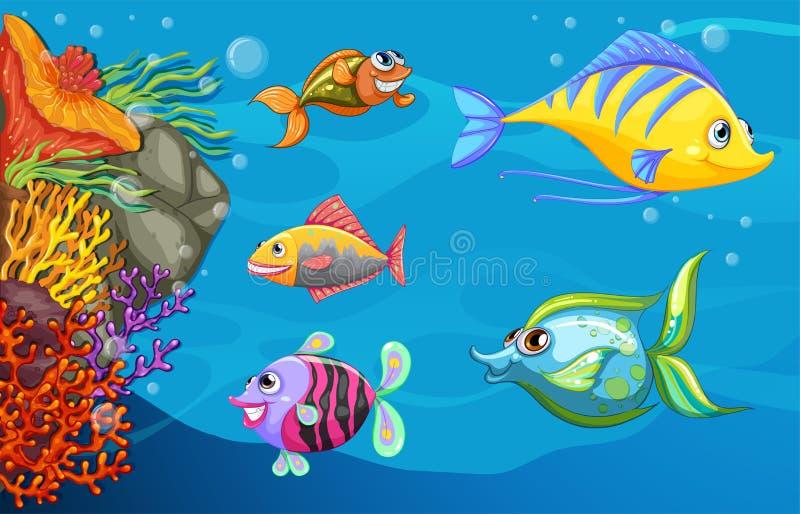 A school of fish under the sea stock illustration