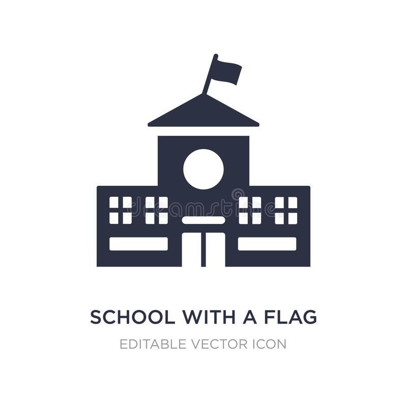 school with a flag icon on white background. Simple element illustration from Buildings concept stock illustration