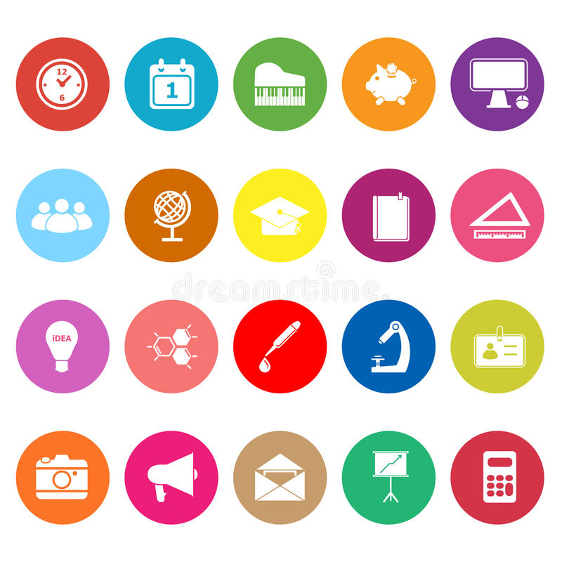 Download School Flat Icons On White Background Stock Vector - Image: 37553977