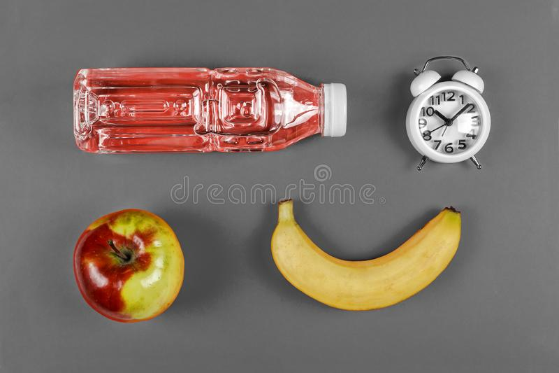 School food concept. school snack, set, School lunch, Top view ,flat lay with copy space royalty free stock photography