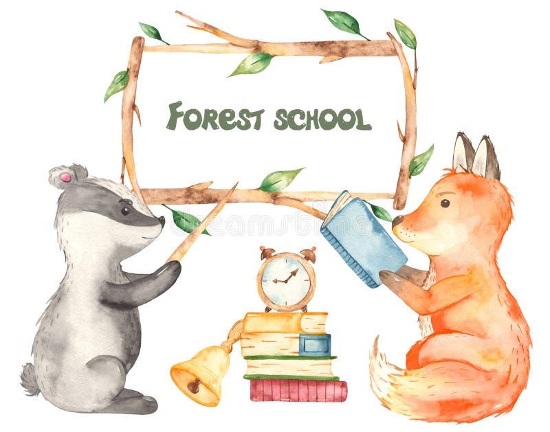 School Forest Animals Watercolor Clipart Teachers Day Stock Illustration Illustration Of Postcard Alarm 156902129