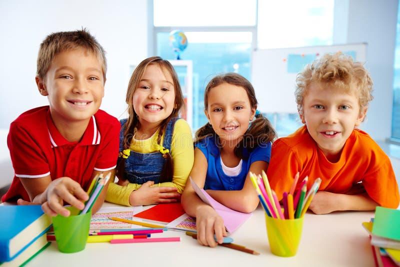 School friends. Portrait of smiling friends enjoying their day at school