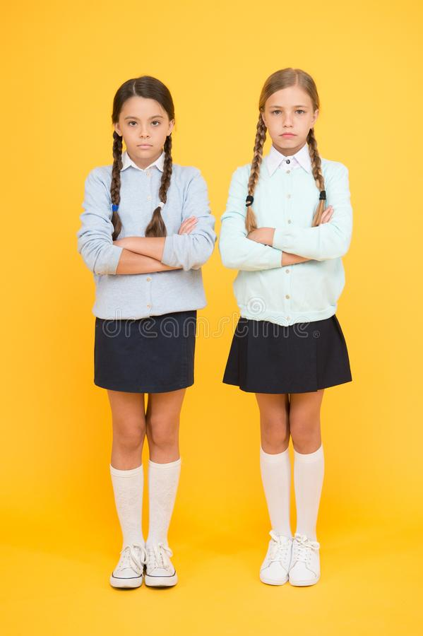 School friendship. Support and friendship. Problem relations. Friendly relationship. Friendship goals. Cute school girls royalty free stock image
