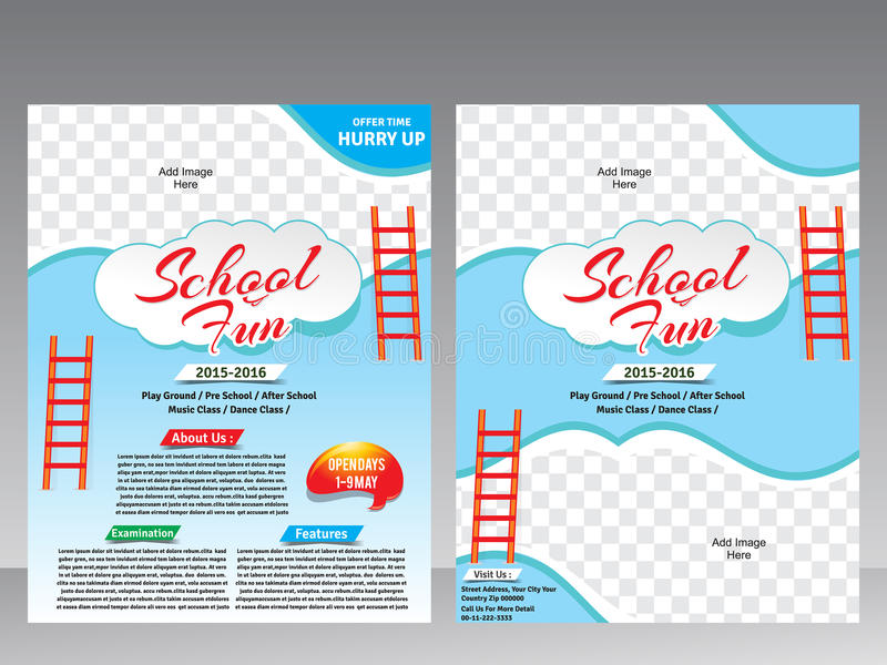 School fun flyer magazine design template stock vector for Fun brochure templates