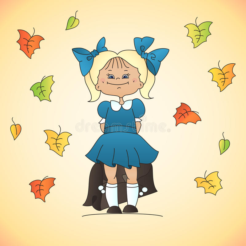 Download School girl stock vector. Image of happy, blue, leaf - 26527968