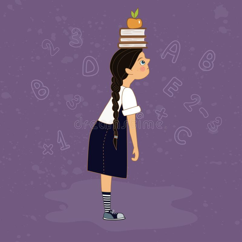 Schoolgirl with pile of books royalty free illustration