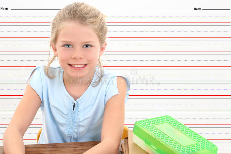 School Girl in Desk Against Writing Line Background. royalty free stock photography