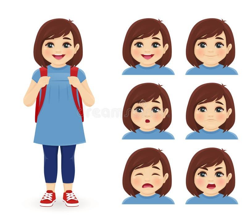 School girl emotions stock illustration