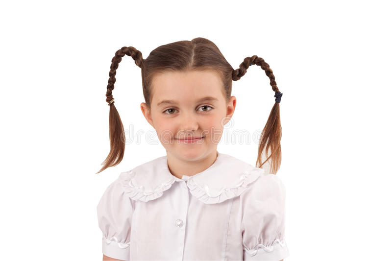 School girl with funny hair style stock photo