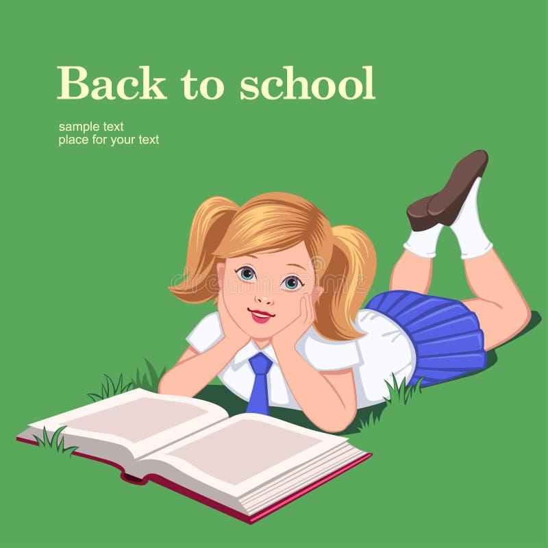 Download School girl on grass stock vector. Image of kids, girl - 32150239