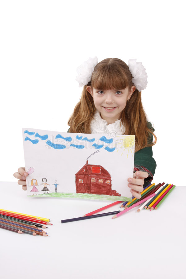 School girl is holding the picture. stock photo