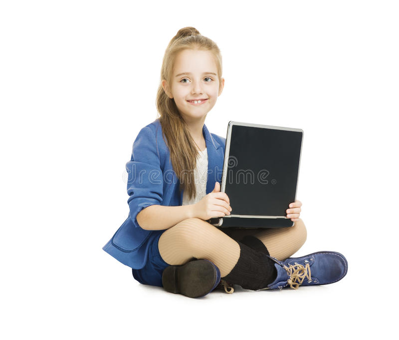 School Girl Kid and Computer. Schoolgirl with Note. Book, Laptop isolated white background royalty free stock photos