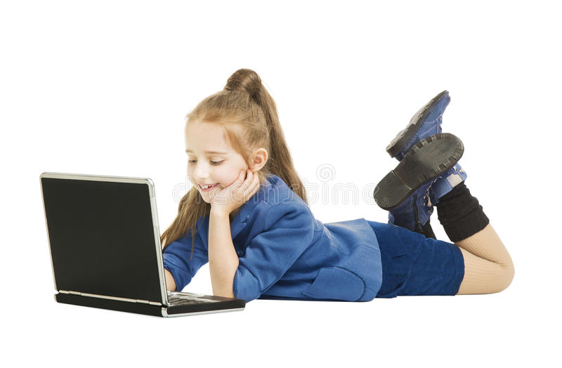 School Girl Kid looking at Computer. Schoolgirl wi. Th Notebook Laptop, isolated white background stock image