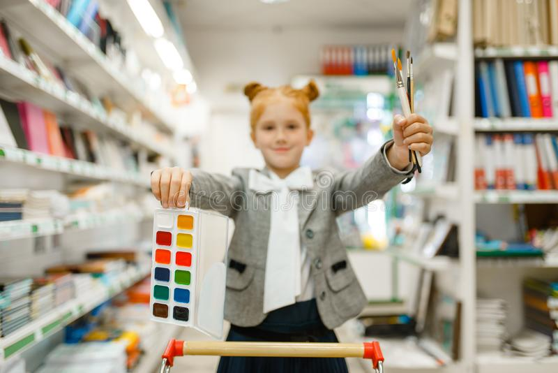 School girl with paints and brushes, stationery royalty free stock images
